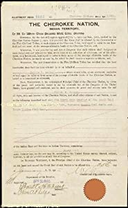 Cherokee Indians - Land Grant Signed January 25, 1905 - Co-signers: William Rogers, Oliver Phelps