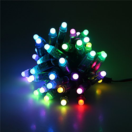 ALITOVE WS2811 12mm Diffused Digital RGB LED Pixel Light Individually Addressable Round LED Pixels Module IP68 Waterproof DC 5V 50pcs/set