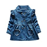 Xshuai For 0-24 Months Kids, Fashion Newborn Infant Toddler Baby Girls Dot Pocket Tops Long Sleeve Princess Denim Dress Outfits (Blue, 18-24 Months)