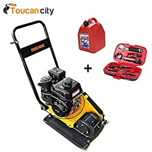 Power King 23 in. x 15.75 in. 6 HP Plate Compactor with Rubber Pad and Movement Trolley PK0203 and Toucan City Gas Can & Tool kit (9 – piece)