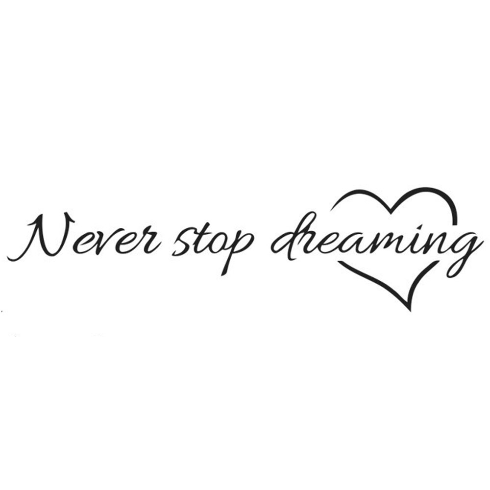Adesivi Murali Frase Never Stop Dreaming Stickers Neri Frasi Scritte Muri in Camera da Letto Dormitorio e Soggiorno Decorazione Parete CDKJ