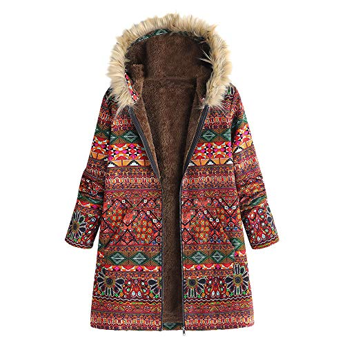 JOFOW Womens Jacket Coats Plus Size Floral Print Hooded Faux Fur Collar Ethnic Vintage Boho Warm Padded Long Loose Parka 3XL (5XL =US:22-26,Red-Totem)