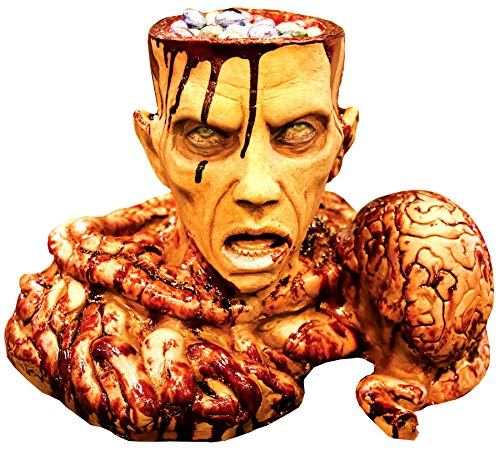 Severed ZOMBIE HEAD BRAIN BOWELS CANDY BOWL PROP-Haunted House Horror Decoration -