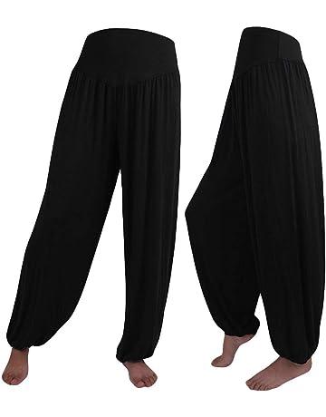 MEIbax Mujer Pantalones Deportivos Dance Harem Pants Elastic de color sólido Oversize Suave Estirado de Cintura