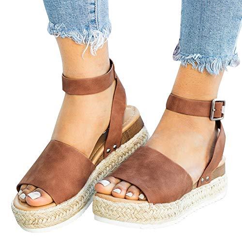 Athlefit Women's Platform Sandals Espadrille Wedge Ankle Strap Studded Open Toe Sandals Size 9.5 - Leather Heels Platform