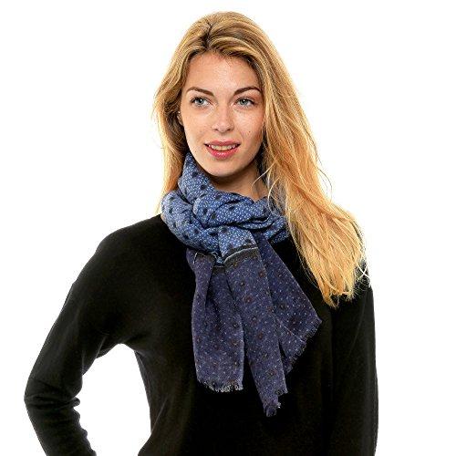 Les Poulettes Bijoux Echarpe 100% Laine Bleu Pois Noir et Grain de Riz   Stéphanie Ducauroix  Amazon.fr  Vêtements et accessoires cfac3d2abb5
