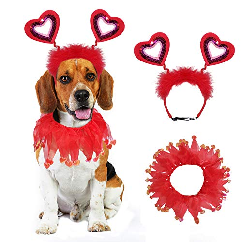 BWOGUE Valentine's Day Dog Costume Red Love Hearts Dog Headband with Collar Holiday Birthday Party Headwear Costume Gift for Small Medium Dogs