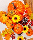 8 pcs Harvest Artificial Pumpkins Assorted Size