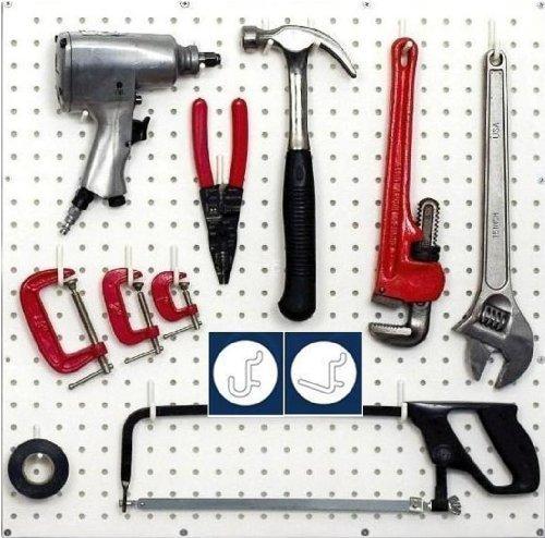 Wallpeg Plastic Peg Hooks - Tool Board Accessories 50 pk. White 25 J & 25 L Flex-Lock Pegboard Hooks -AM 50 W-2