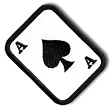 """[Single Count] Custom and Unique (3.5"""" x 2.5"""" Inch) Square w/ Rounded Corners Ace of Spades Poker Playing Card Magic Tricks Family Fun Cute Iron On Embroidered Applique Patch {Black & White Colors}"""