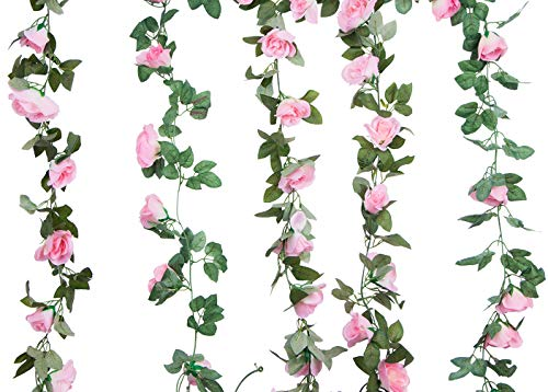 Foraineam-2PCS16FT-Artificial-Rose-Vine-Garland-Silk-Hanging-Roses-Fake-Flowers-String-Artificial-Plants-Indoor-Outdoor-Decor-Pink