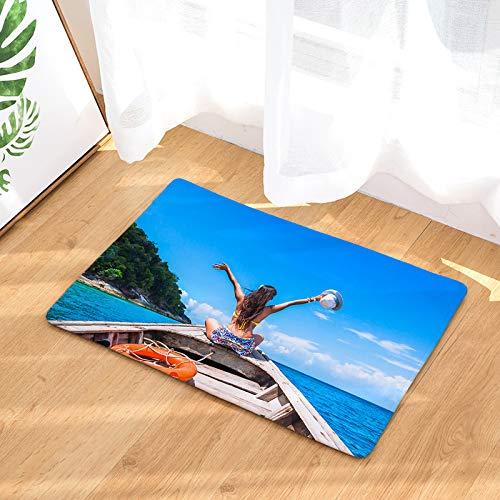 - YQ Park Non-Slip Doormat Ocean Woman by Boat Coral Fleece Indoor Outdoor Kitchen Floor Rug Front Door Mat