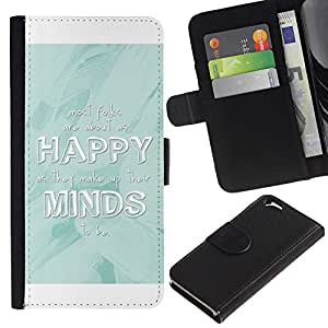KingStore / Leather Etui en cuir / Apple Iphone 6 / Felices Minds Blanca Baby Blue Cita