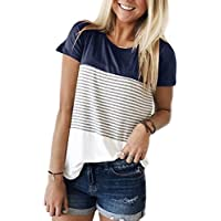 Smalovy Women's Triple Color Block Stripe T Shirt Short Sleeve Casual Loose Fit Tee
