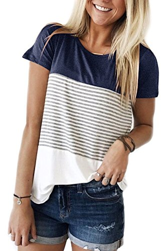 - Women Tops and Blouses Plus Size Short Sleeve Shirts 2018 Summer Navy XXL