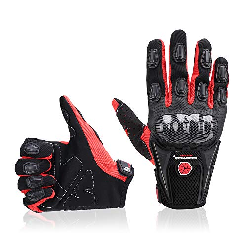 kemimoto Motorcycle Gloves Men Riding Full Finger Breathable Gloves for Motorcross Racing ATV Dirt Bike Cycling Gloves Protection Powersports Ourdoor Summer Red L