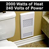 High Quality Bathroom Wall Heater Pulsair 2002TW White: Heats a true 200 sq. feet, ultra-quiet electric wall heater for any small room. Safe and reliable 240 volt 2000 watts with a built-in easy to use thermostat. Grille with a safe rounded corners