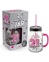 Cocktail Drinking Mason Jar With Lid and Straw 500ml - 21st Birthday by ukgiftstoreonline