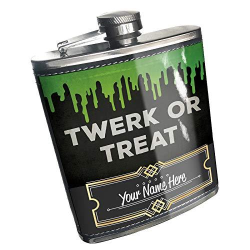Neonblond Flask Twerk or Treat Halloween Green Slime Custom Name Stainless Steel