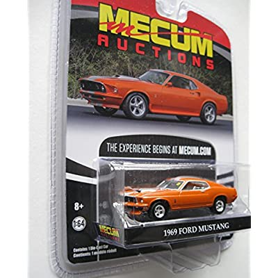 1969 Ford Mustang Resto Mod Orange with Silver Stripes Mecum Auctions Collector Series 1 1/64 Diecast Model Car by Greenlight 37110 A: Toys & Games