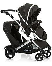 Hauck Duett 2 - carro gemelar, silla de paseo gemelar, capazo desde nacimiento, transformacion a sillita, asiento giratorio, asiento desmontable, manillar ajustable en altura, Black (negro)