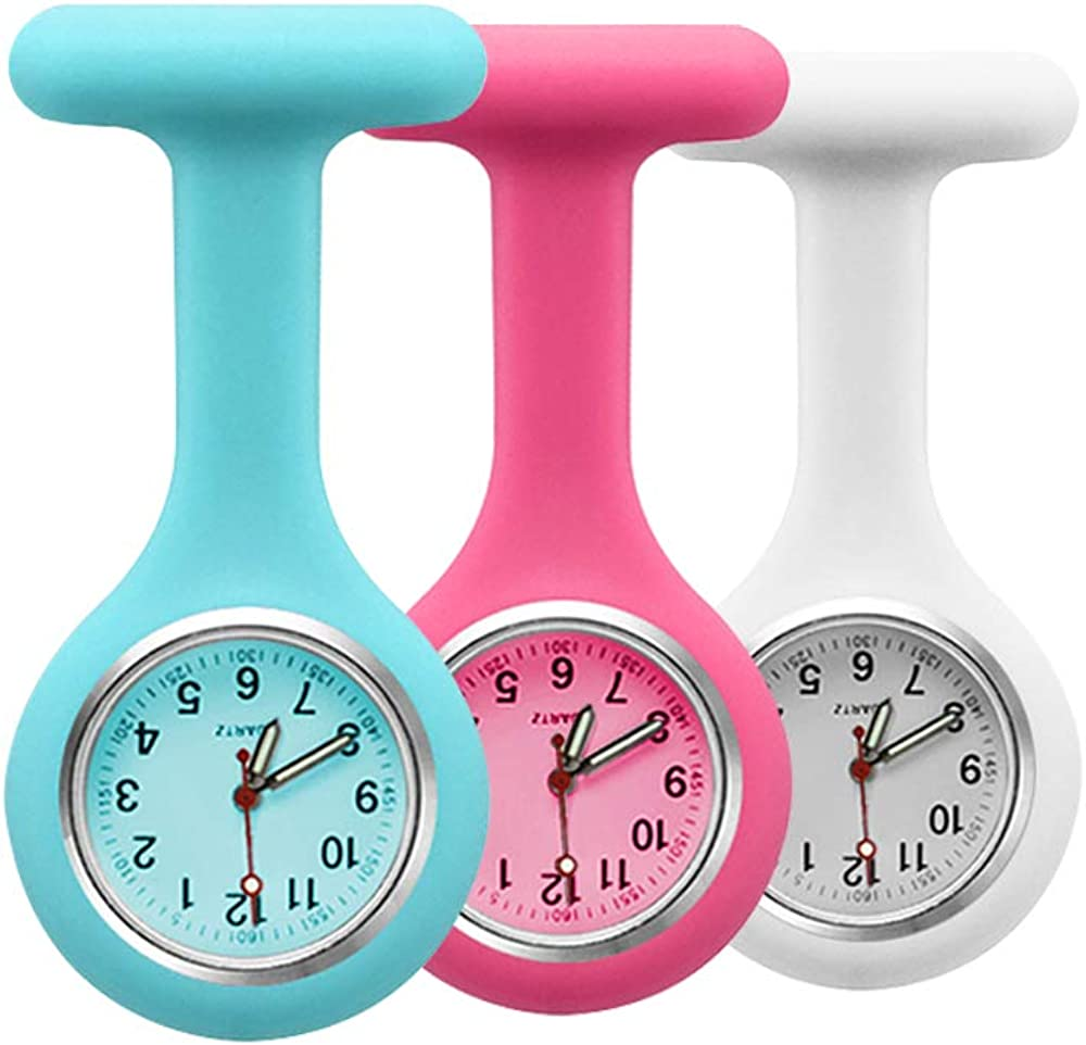 Set of 3 Nurse Fob Watches, Silicone Doctor Pocket Lapel Clip On Watches Gift