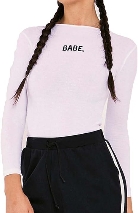 Sexy Body para Mujer, Moda Carta Impresa Ajustado Camisa Cuello Redondo Bodysuit de Manga Larga Cómodo Primavera Leotard Tops Negro/Naranja/Blanco: Amazon.es: Ropa y accesorios