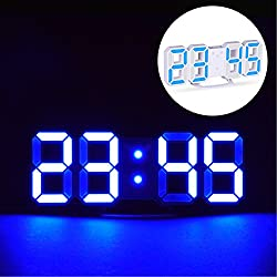 EVILTO LED Digital Alarm Clock with Night Light, 3D Number Style Modern Wall/Mounted/Desk/Shelf Clocks with Adjustable Brightness, Snooze Function for Home Bedside Office School 8.4 Blue/White