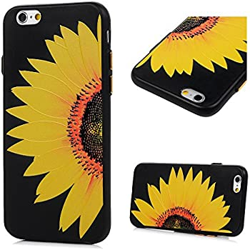 iPhone 6S Case,iPhone 6 Case - Shockproof Flexible Soft TPU Case Rubber Skin Gel Bumper 3D Basso-relievo Floral Painting Lightweight Black Slip-Proof Slim-Fit Protective Cover by Badalink - Sunflower