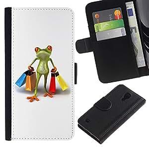 For SAMSUNG Galaxy S4 IV / i9500 / i9515 / i9505G / SGH-i337,S-type® Clothes Shop Frog White - Dibujo PU billetera de cuero Funda Case Caso de la piel de la bolsa protectora