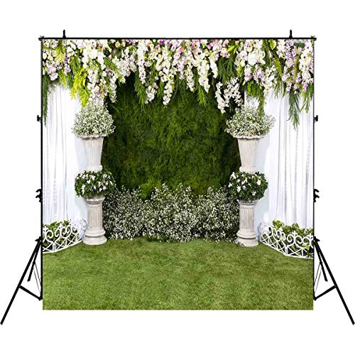 Allenjoy 8x8ft White Flower Wedding Ceremony Backdrop Curtain Banner Green Grass Lawn Arch Background for Newlyweds Photo Photography Bridal Shower Engagement Banquet Anniversary Shoots Photo Booth
