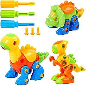 Mi-wonder Dinosaur Take Apart Toys Construction Engineering STEM Learning Toy Dinosaur Building and Construction Play Set - Pack of 3 with Tools