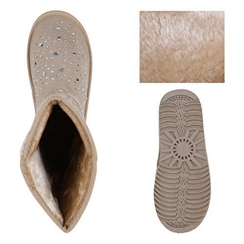 Damen Schlupfstiefel Warm gefütterte Stiefel Prints Schuhe Schleifen Nieten Stiefeletten Strass Winterschuhe Boots Flandell Creme Strassteine