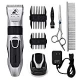 Dog Grooming Clippers - Cordless Quiet Pet Hair Clippers Trimmer, Professional Hair Clipper Set with Stainless Steel Blades, Dog Comb Shears for Dogs Horse Cats Pet
