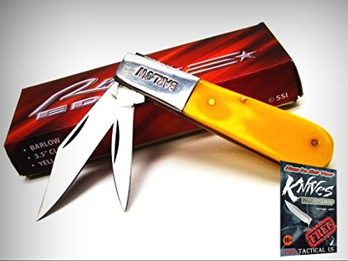 RITE EDGE PA5023YW Yellow Handle BARLOW 2 Blade Folding Pocket Knife! RE-5023YW + free eBook by ()