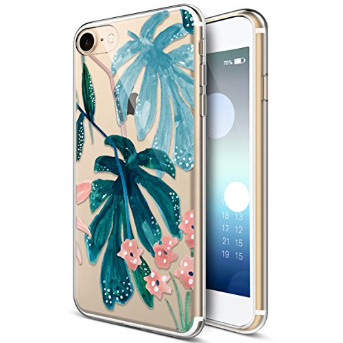 iPhone 5S Case,iPhone SE Case,iPhone 5 Case,ikasus Ultra Thin Soft TPU Embossed Painting Green Leaves Flowers Soft Silicone Rubber Bumper Crystal Clear Soft Floral Silicone Case for iPhone 5S 5 SE,#7
