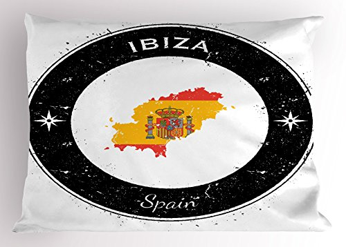 Lunarable Ibiza Pillow Sham, Grunge Monochrome Round Frame with Compass Stars and Spain Flag Motif, Decorative Standard Size Printed Pillowcase, 26 X 20 Inches, Vermilion Yellow and Black by Lunarable