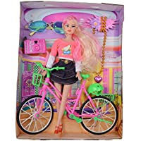 Super Toy Beautiful Doll with Bicycle Watch & Goggles Best Gift for Girls (Color and Design May Vary)