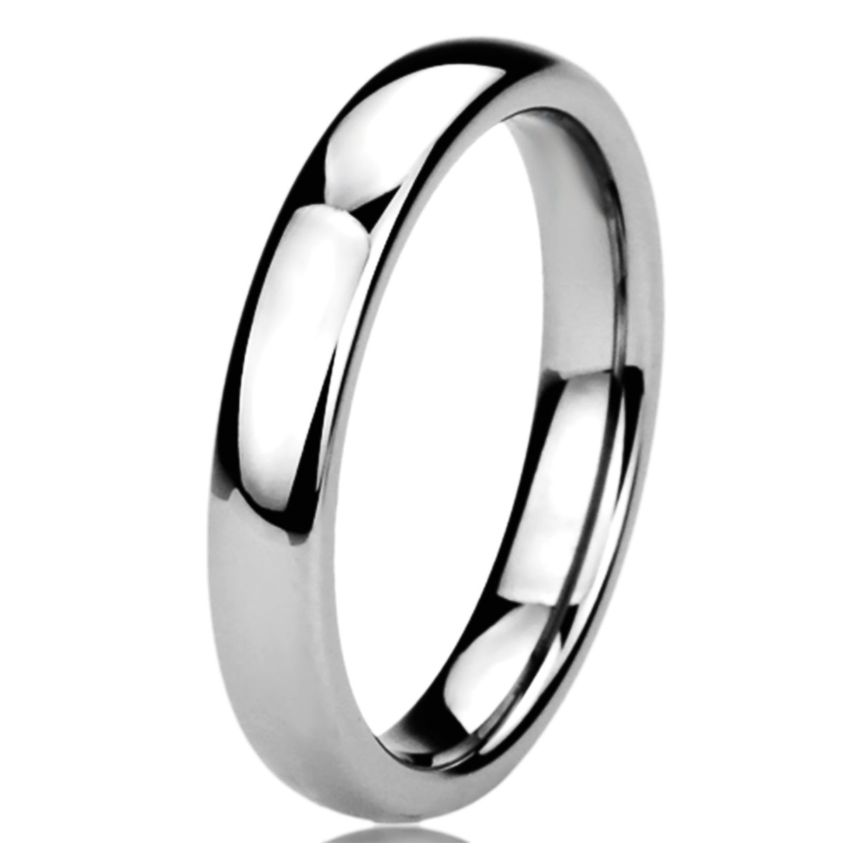 Free Engraving Personalized Titanium Comfort Fit Wedding Band Ring 4mm Classic Ring-SIZE 7