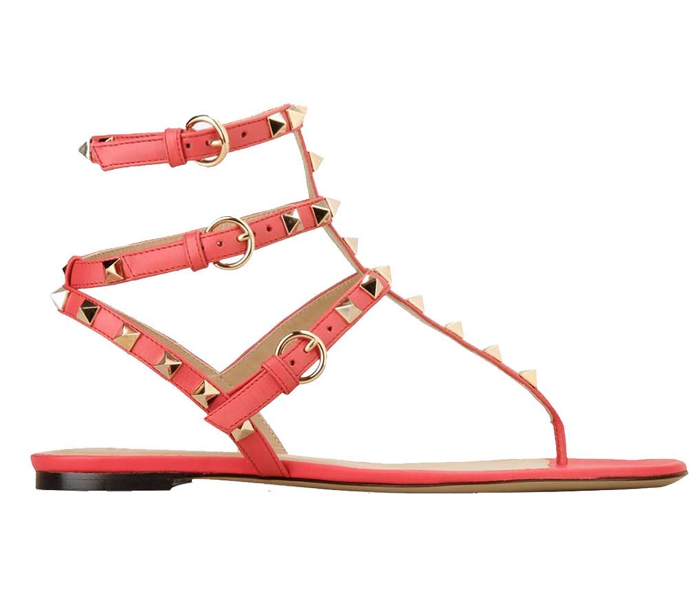 Red Women's Rivets Studs Flat Sandals, Clip Toe Triple Metal Buckle Summer Dress shoes