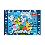 LA Rug FT-132 5178 Fun Time Map Of Canada- Multi-Color
