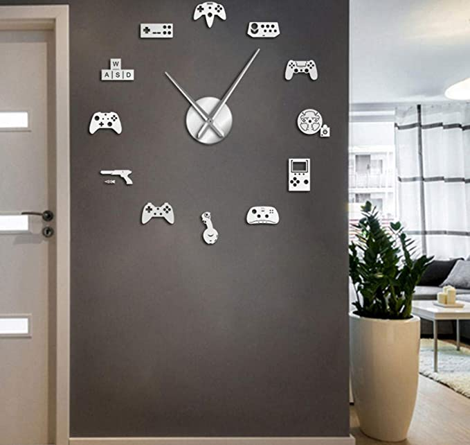 Game Controller Video Diy Giant Wall Clock Game Joysticks Stickers Gamer W M8E6