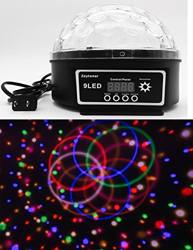 Upgrades Crystal Magic Ball Led Stage Lamp 7 Voice Control Modes 9 Colors Stage Lighting Disco Laser Light Party Lights (Colour Led Laser)