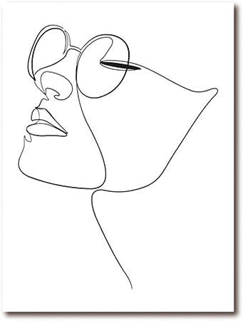 Chutd Affiche Femme Visage Figure Un Dessin Au Trait Art Toile Peinture Image Abstraite Oeuvre Face Imprimer Minimaliste Croquis Affiche Home Decor 50x70cm Amazon Fr Cuisine Maison