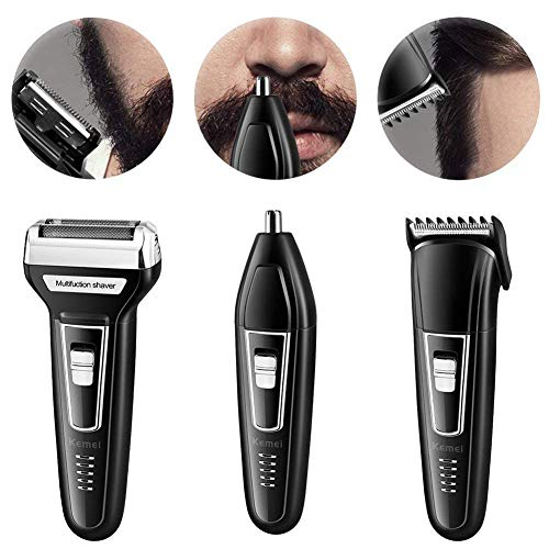 Mens Electric Shaver Razor Beard Trimmer Rotary Cordless Wet Dry in USB Rechargeable Waterproof for Men 3-in-1 Multi Function Hair Clippers