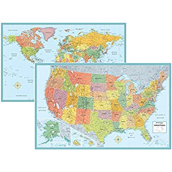 Us and world desk map 13 x 18 laminated by american geographics us and world desk map 13 x 18 laminated by american geographics gumiabroncs Image collections