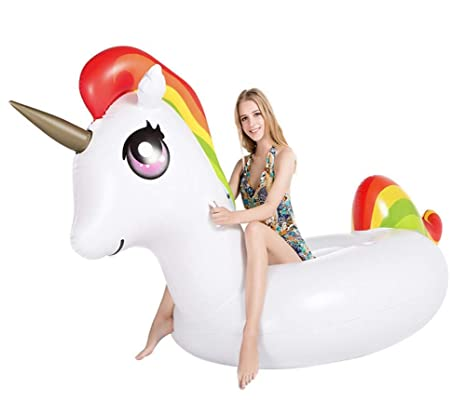 Sucastle Flotador Inflable para Piscina con Forma de Pequeño Unicornio,para Adultos niños Playa Fiestas
