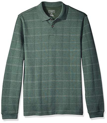 - Van Heusen Men's Flex Long Sleeve Jaspe Windowpane Polo Shirt, Thyme Plaid, X-Large