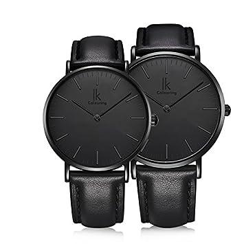 WATCHES-HAN Pareja Relojes Hombres Mujeres 4 Colores Simple Casual Moda Cuero Relojes de Cuarzo Impermeable Negro Marrón Blanco Rosa Dorado-c: Amazon.es: ...