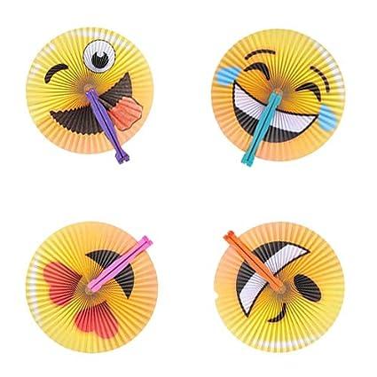 Amazon.com: Surtido de abanicos de papel plegables Emoji de ...